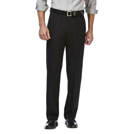 Mens Haggar Premium No Iron Khaki Classic Fit Flat Front Pants Black