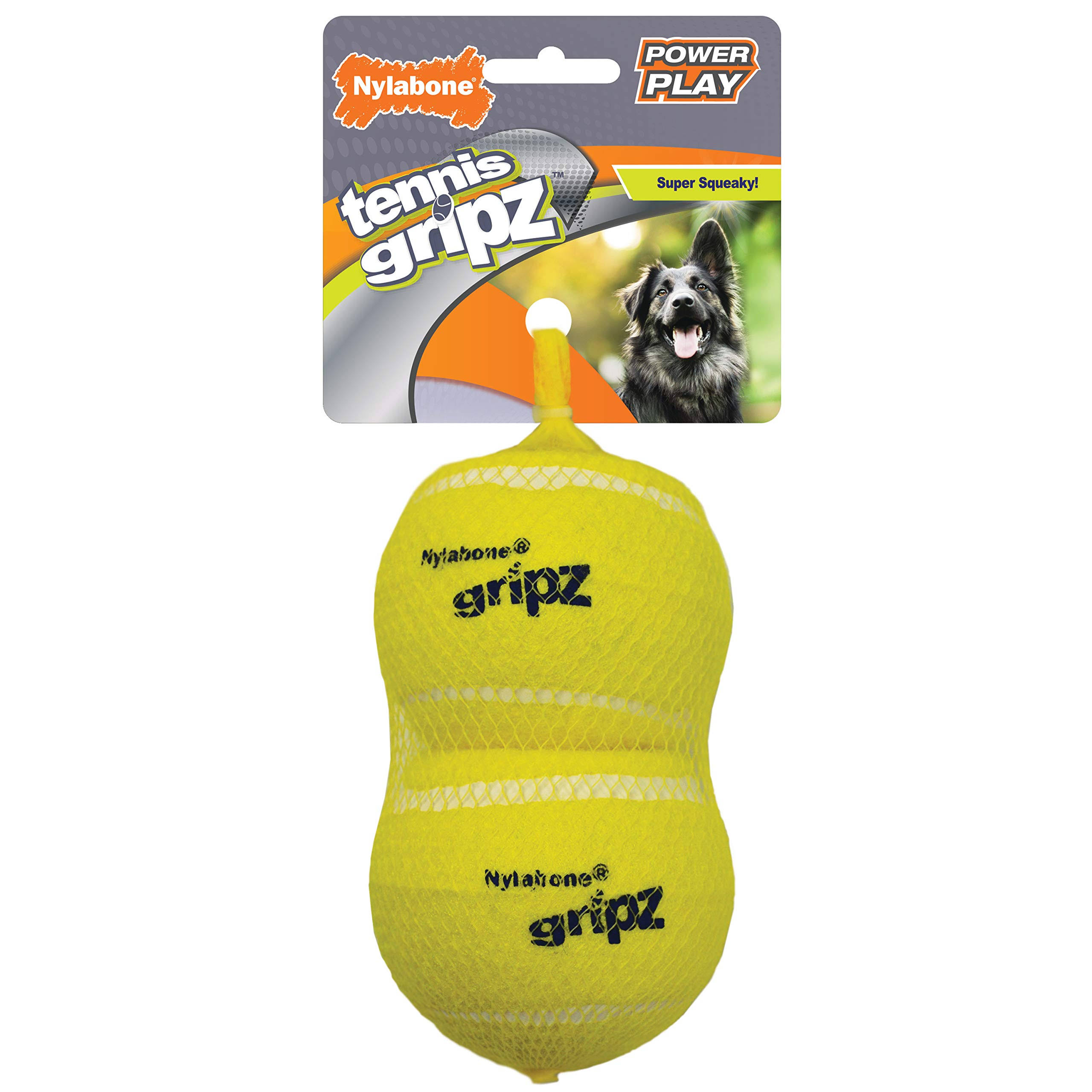 Nylabone NPLY005P Power Play Tennis Gripz Ball, Yellow, Large/2 Pk