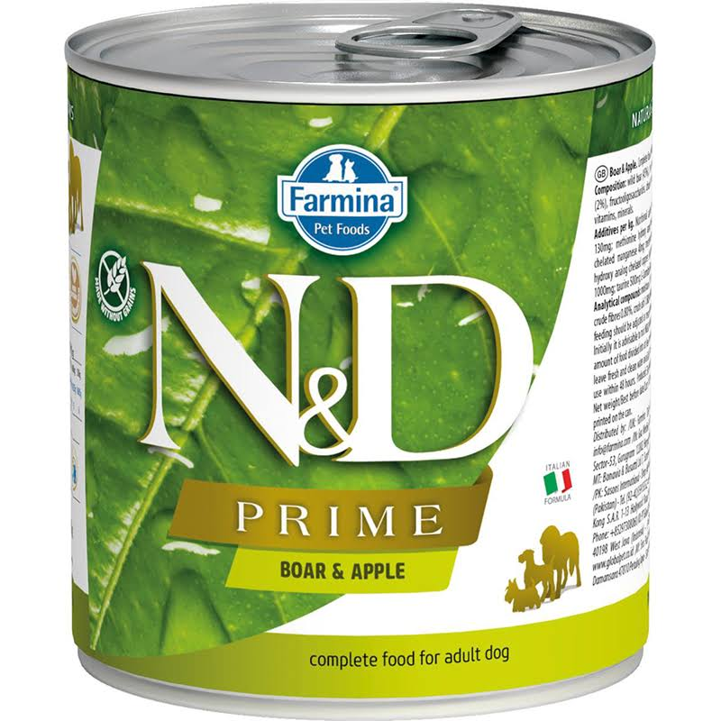 Farmina N and D Prime Canned Dog Food - Boar and Apple, 285g