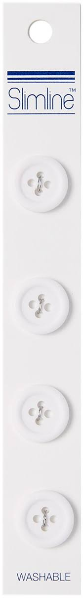 "Slimline 4 Hole Buttons - 5/8"", White, 4pc"