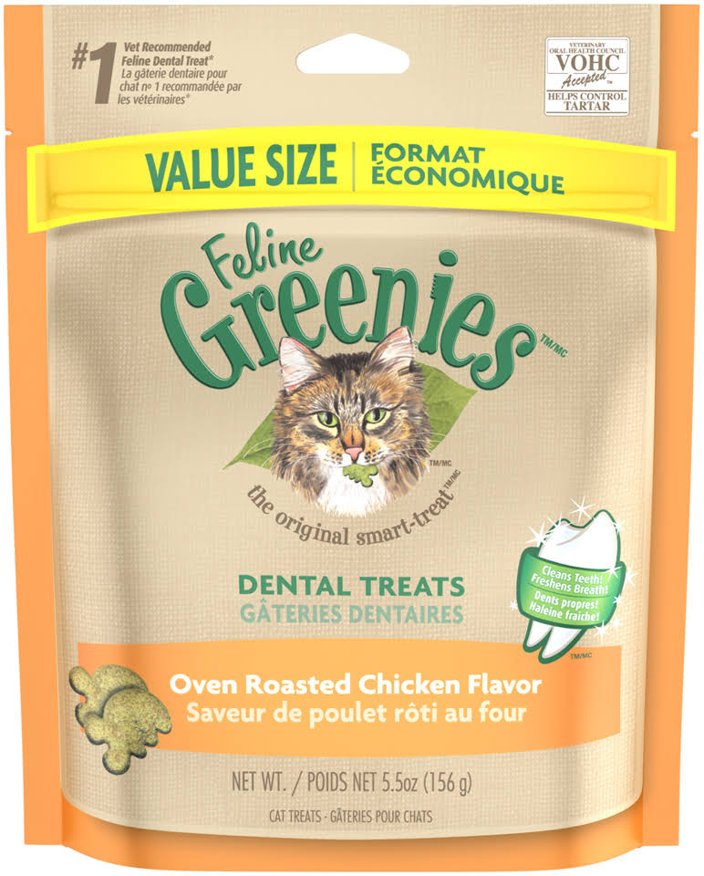 Feline Greenies Cat Dental Treat - Oven Roasted Chicken, 5.5oz