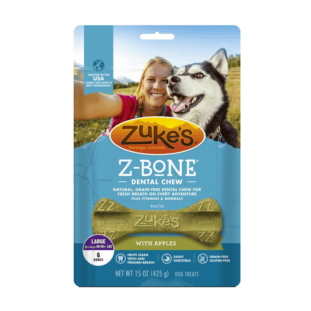 Zuke's Z-Bones Dog Dental Chews - Clean Apple Crisp, 6 Large Bones