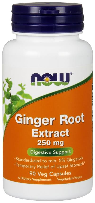 Now Foods Ginger Root Extract Supplement - 250mg, 90 Vegetarian Capsules