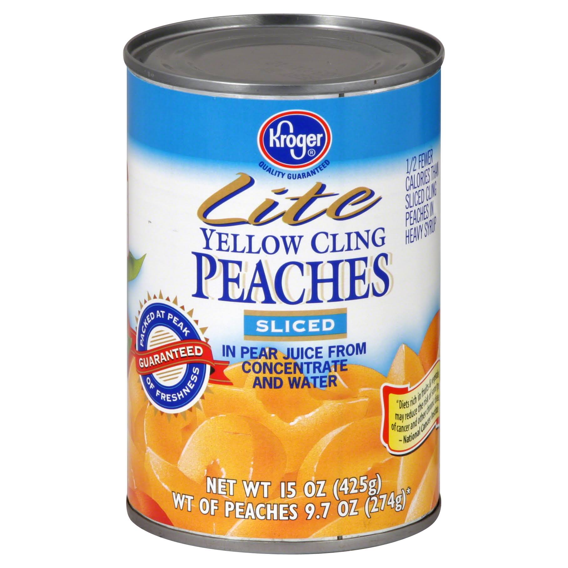 Kroger Lite Peaches, Yellow Cling, Sliced - 15 oz