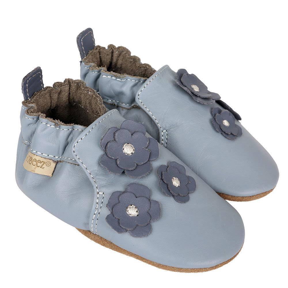 Robeez Size 12-18M Soft Soles Indy Blossom Shoe in Blue