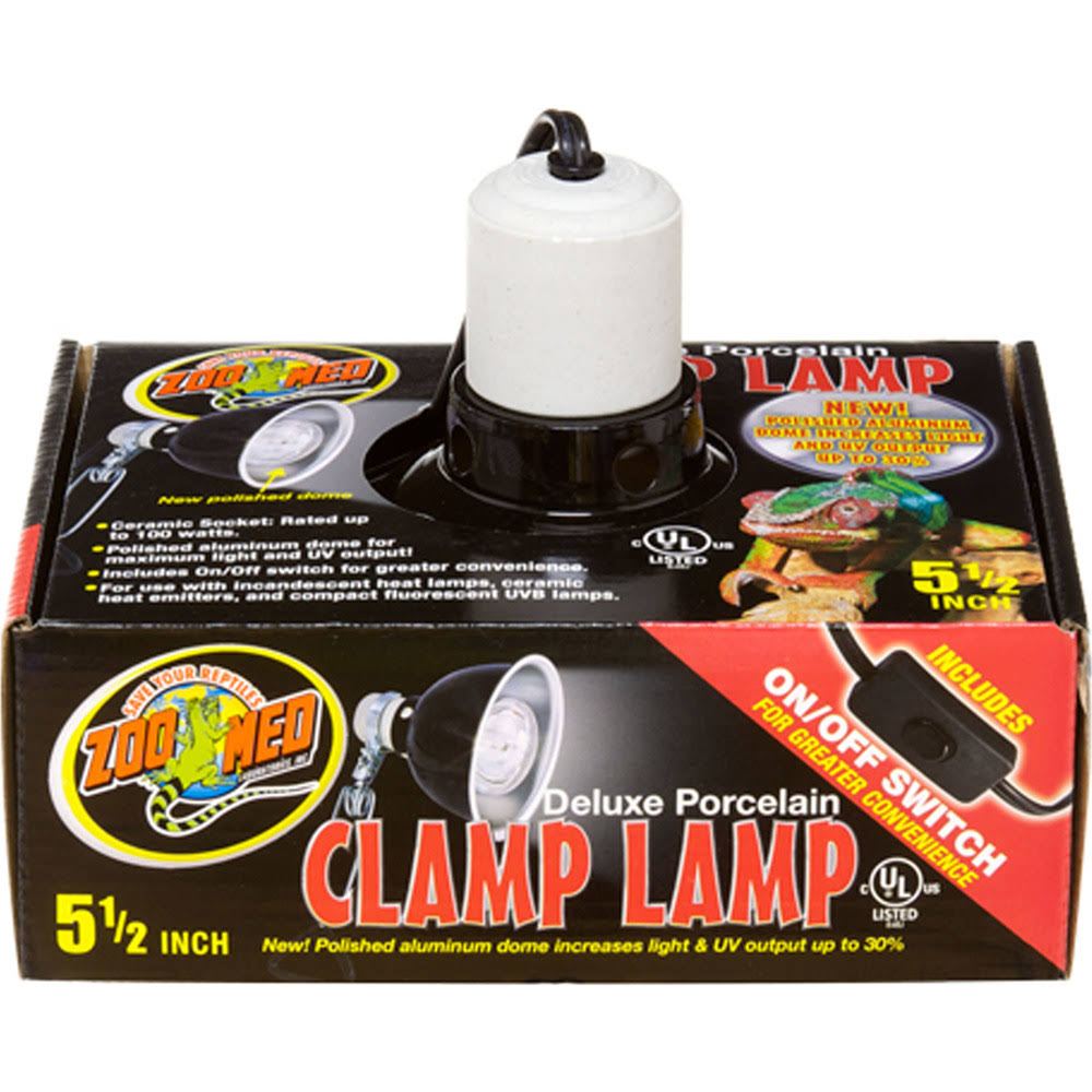 Zoo Med Deluxe Porcelain Clamp Lamp & Dome - Black, 5.5""