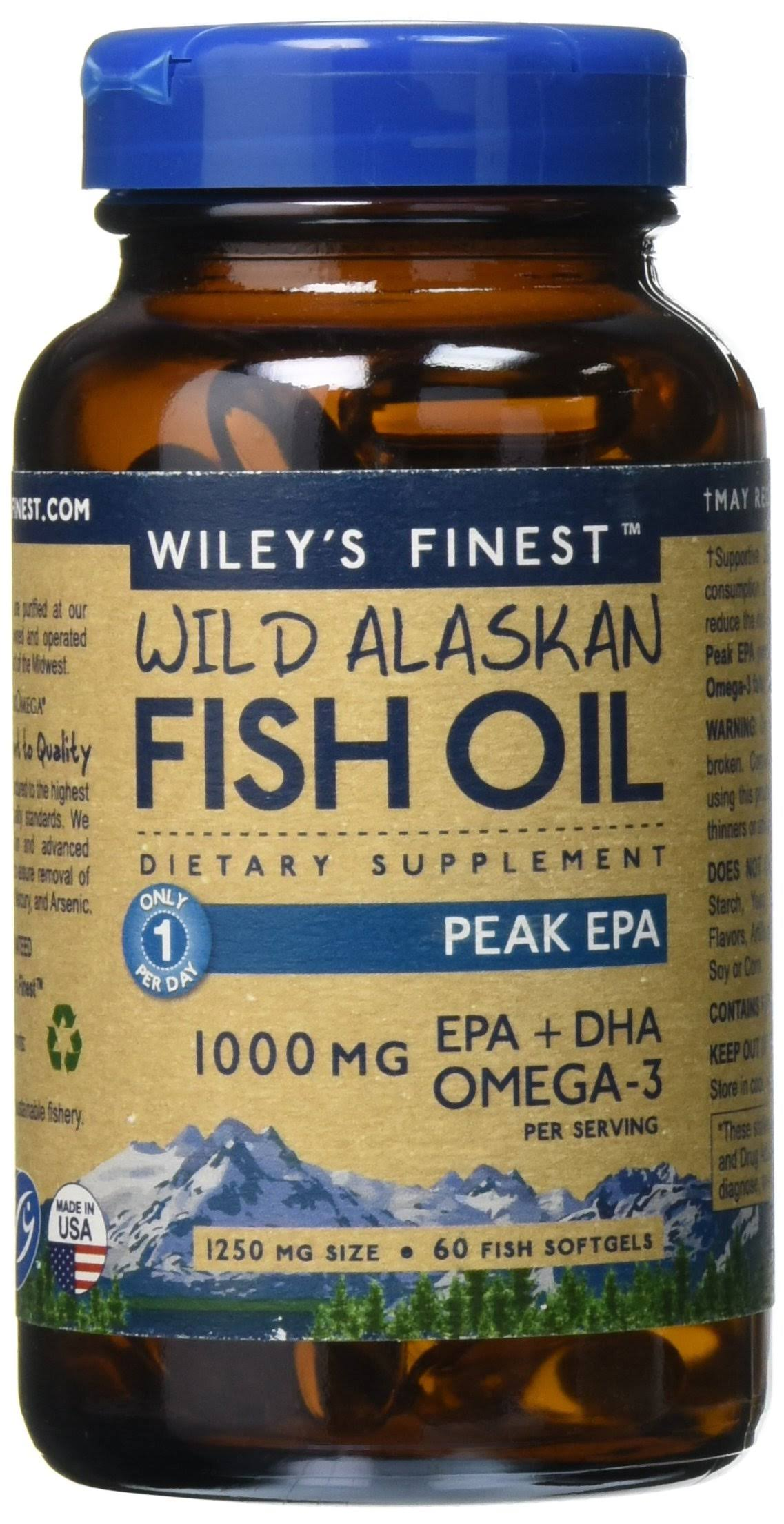 Wiley's Finest Wild Alaskan Fish Oil EPA + DHA Omega 3 Supplements - 60ct