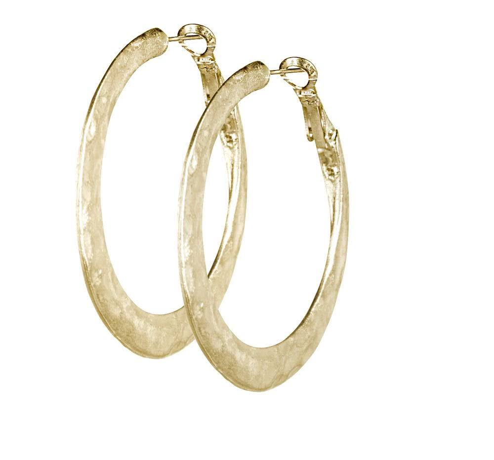 Jwest and Company Womens J West Hammered Hoop Earrings Gold