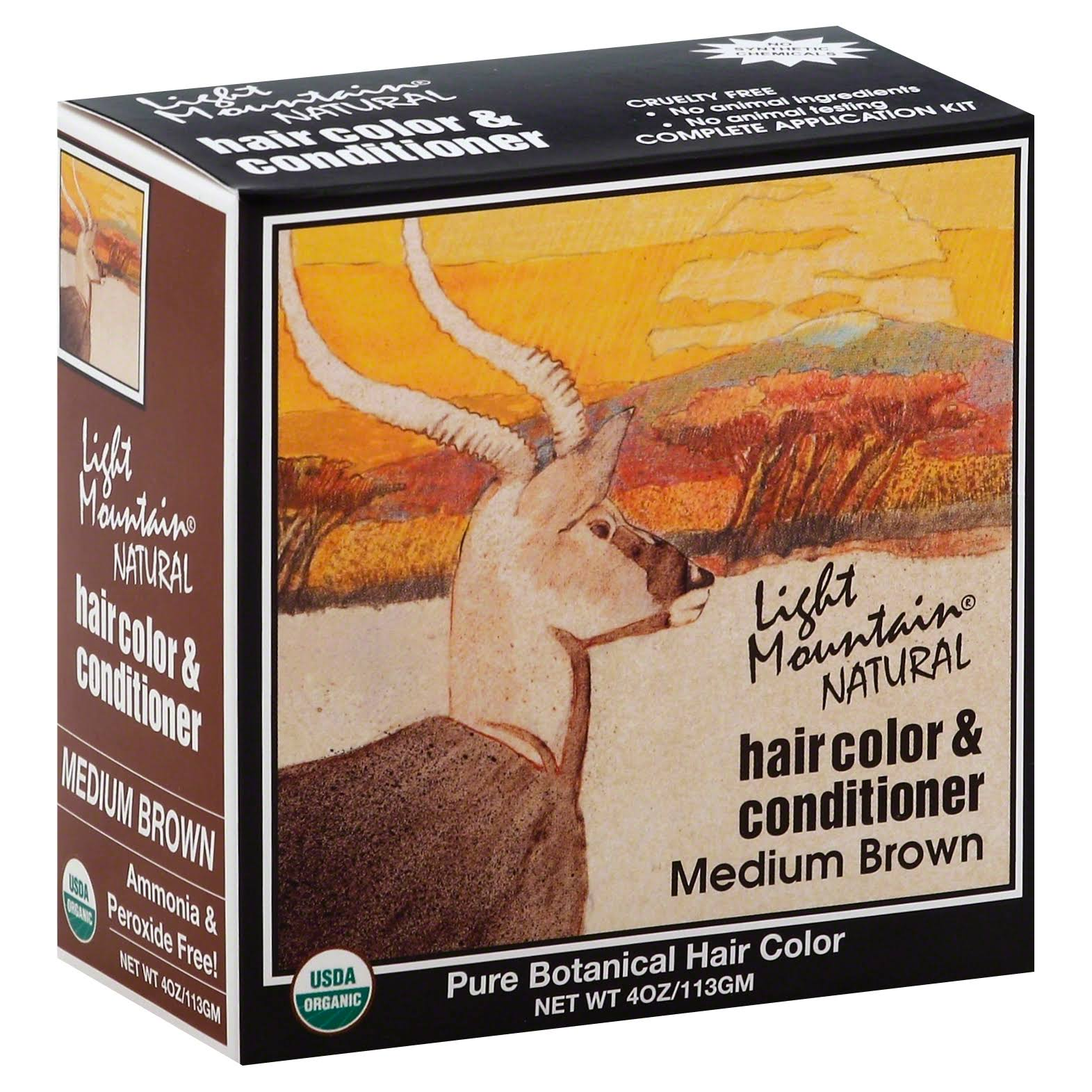 Light Mountain Natural Hair Color & Conditioner - Medium Brown, 113g