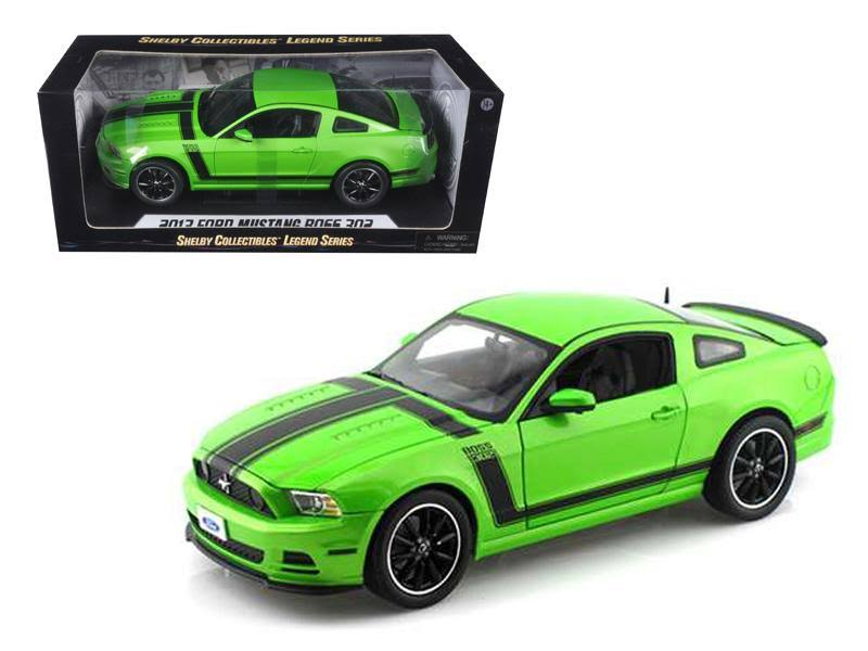 Shelby Collectibles 2013 Ford Mustang Boss 302 Green 1/18 Diecast Car Model