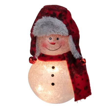 "Stony Creek 5.5"" Red and Grey Lighted Snowman Christmas Tabletop Decoration"