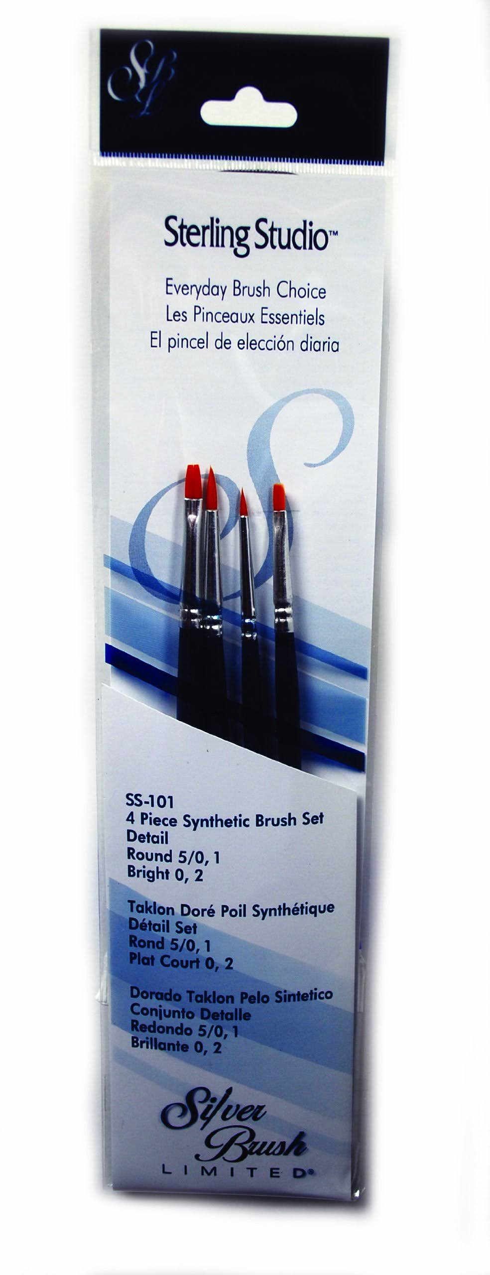 Silver Brush Limited SS101 Sterling Studio Round/Bright Brush Set 4pcs