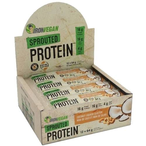 Iron Vegan Sprouted Protein Bar Coconut Cashew 64G 12/Box