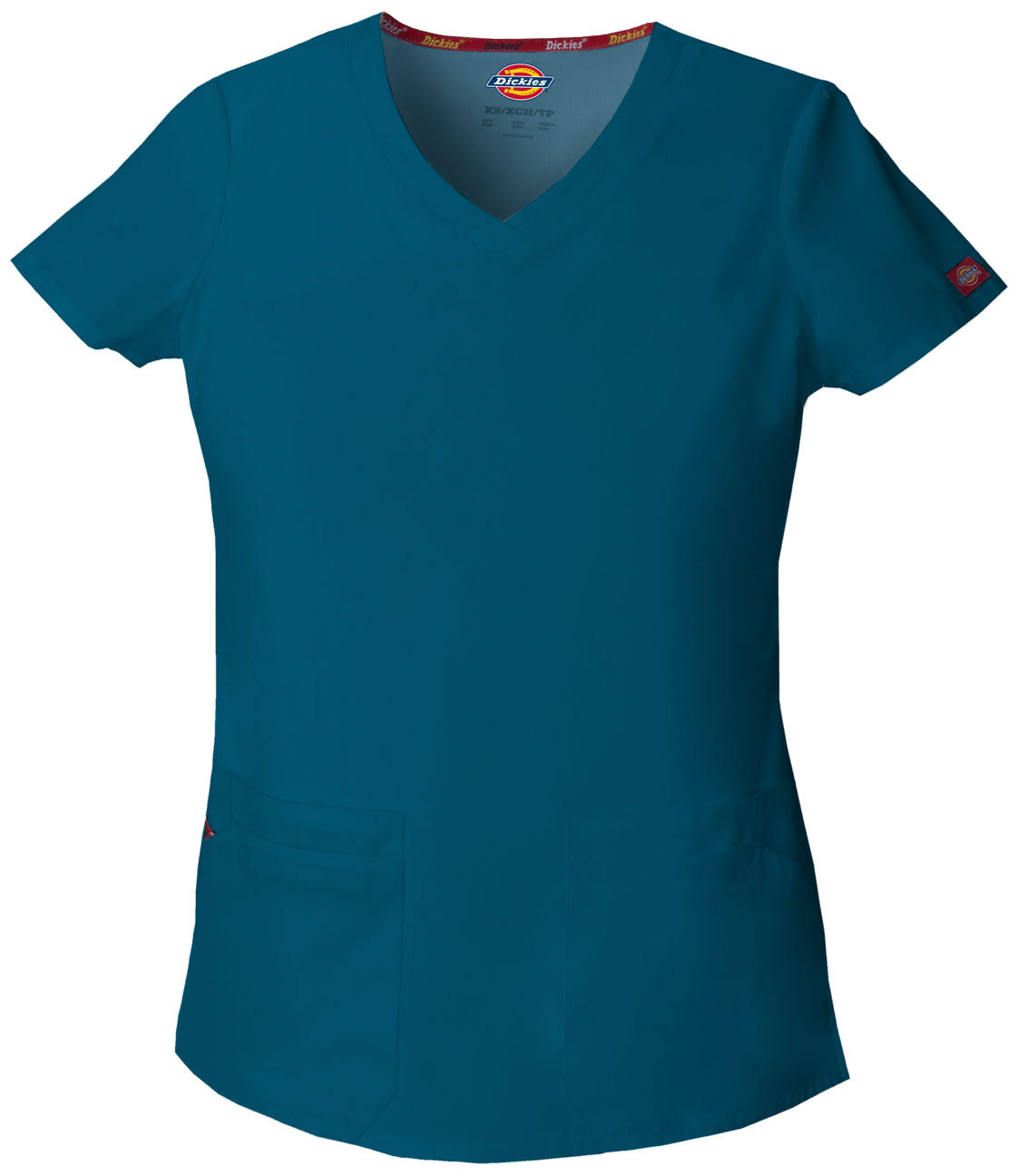 Dickies Women's Eds Signature Scrubs V-Neck Top - Caribbean Blue, Large
