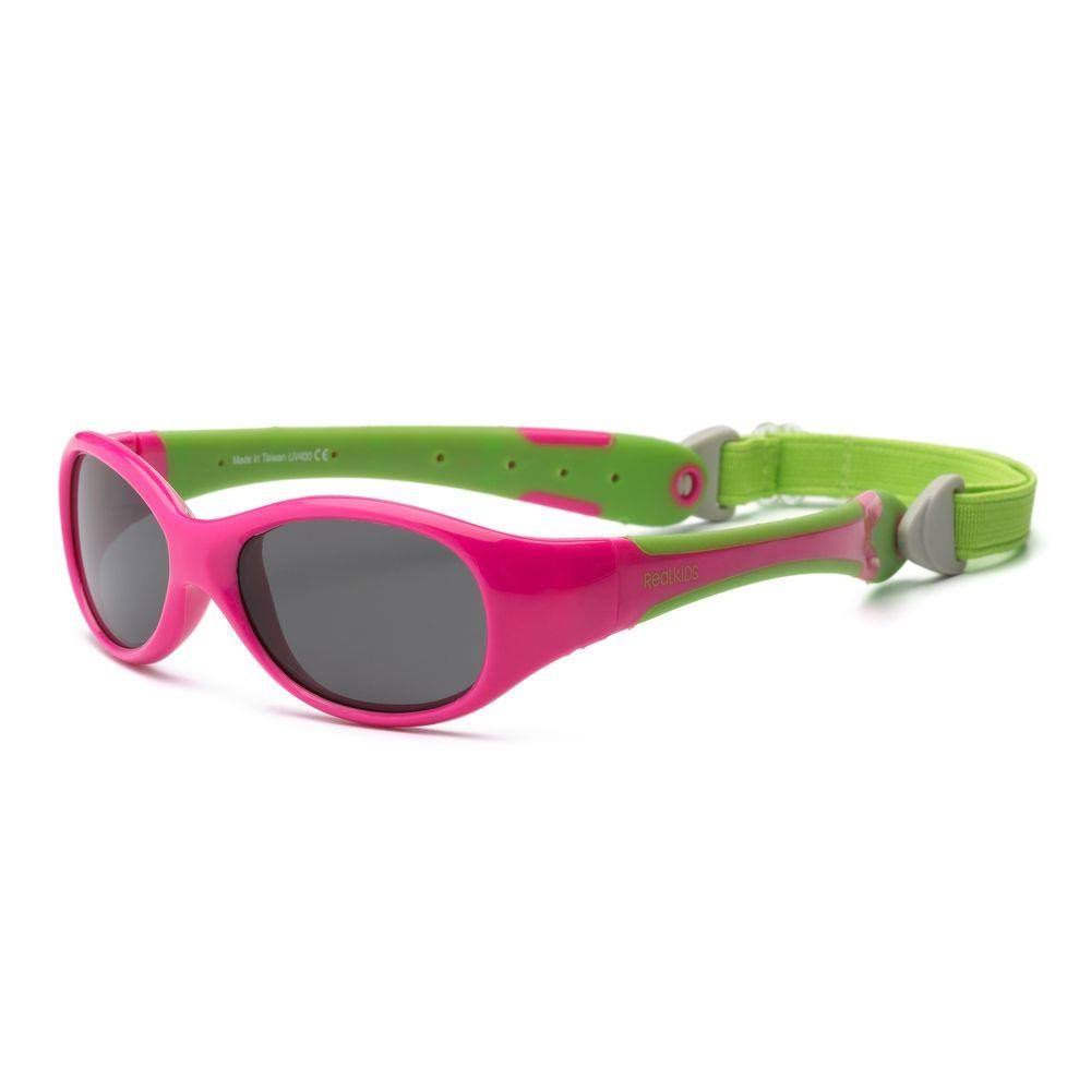 Real Kids Shades Cherry Pink/Lime Green Flex Fit Removable Band Smoke Lens 2+