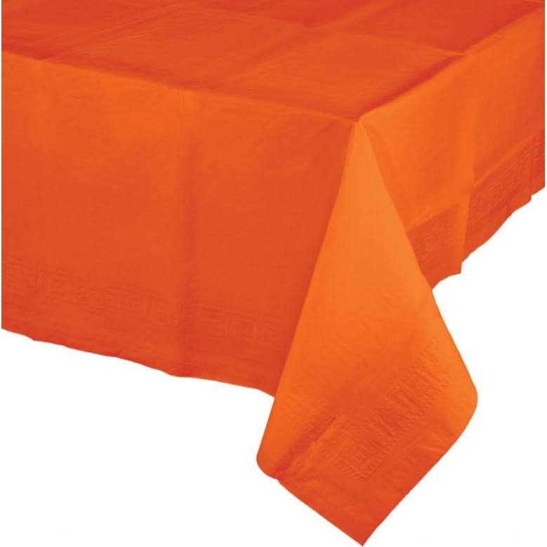 "Touch of Color Tissue Tablecover - 54""x108"", Sunkissed Orange"