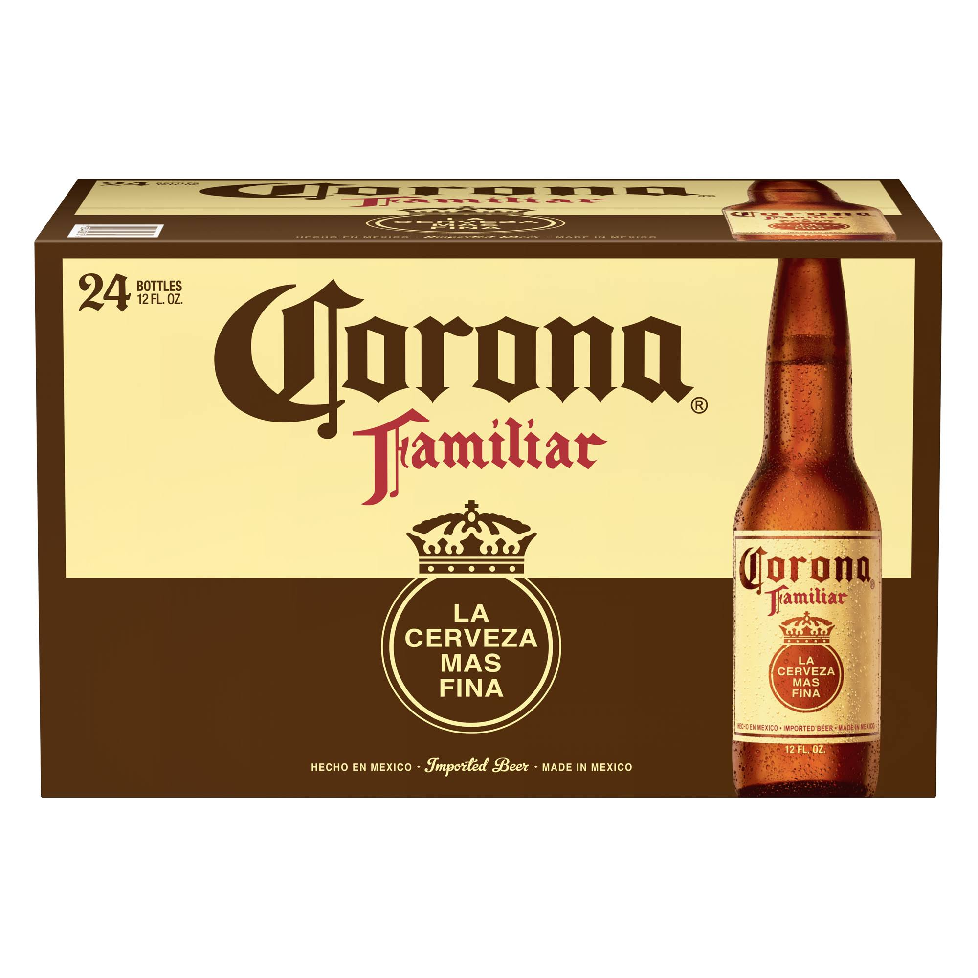Corona Familiar Mexican Import Beer, 24 Pk 12 fl oz Bottles, 4.8% Abv
