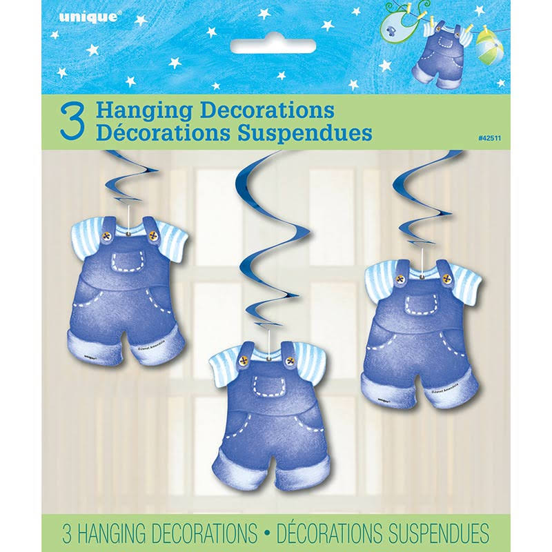 Hanging Blue Clothesline Boy Baby Shower Decorations - 3ct, 26""