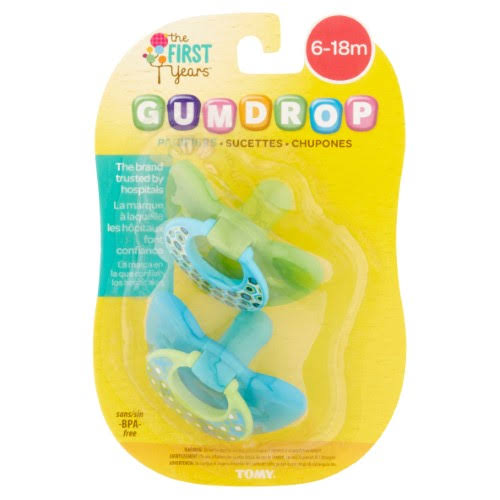 Tomy The First Years Gumdrop Pacifiers - 6 to 18 Months, 2ct