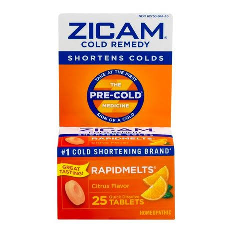 Zicam Rapidmelts Citrus Flavor Cold Remedy Quick Dissolve Tablets - 25 Tablets
