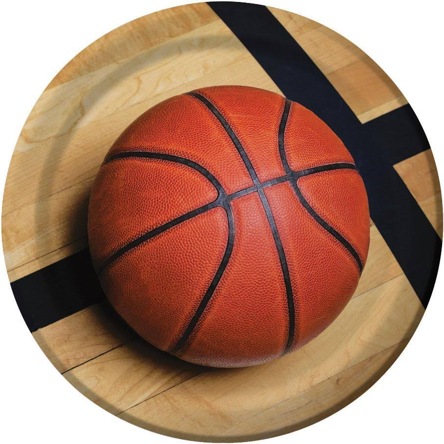 "Creative Converting Sports Fanatic Basketball Sturdy Style Paper Dinner - 9"", 8ct"