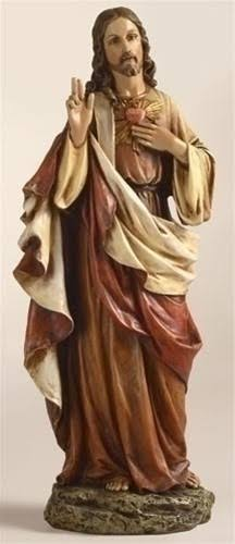 Joseph's Studio Roman Tall Sacred Heart of Jesus Figure - Made of Stone Resin and Hand Painted, 10.25""