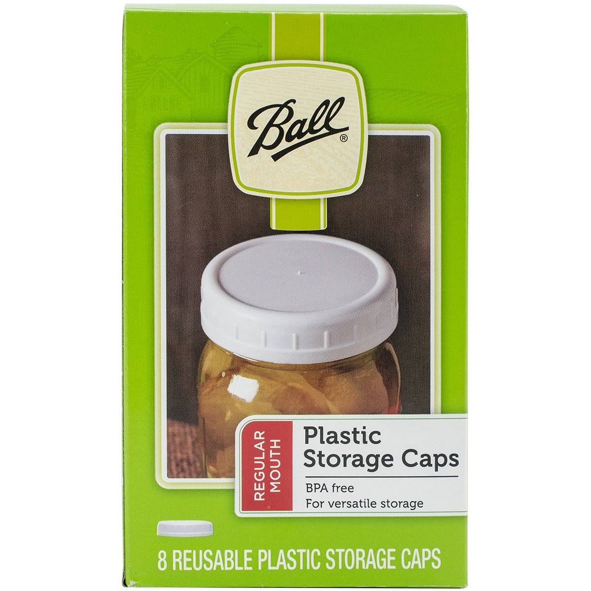Ball Plastic Storage Caps - Wide Mouth, 8 Pack
