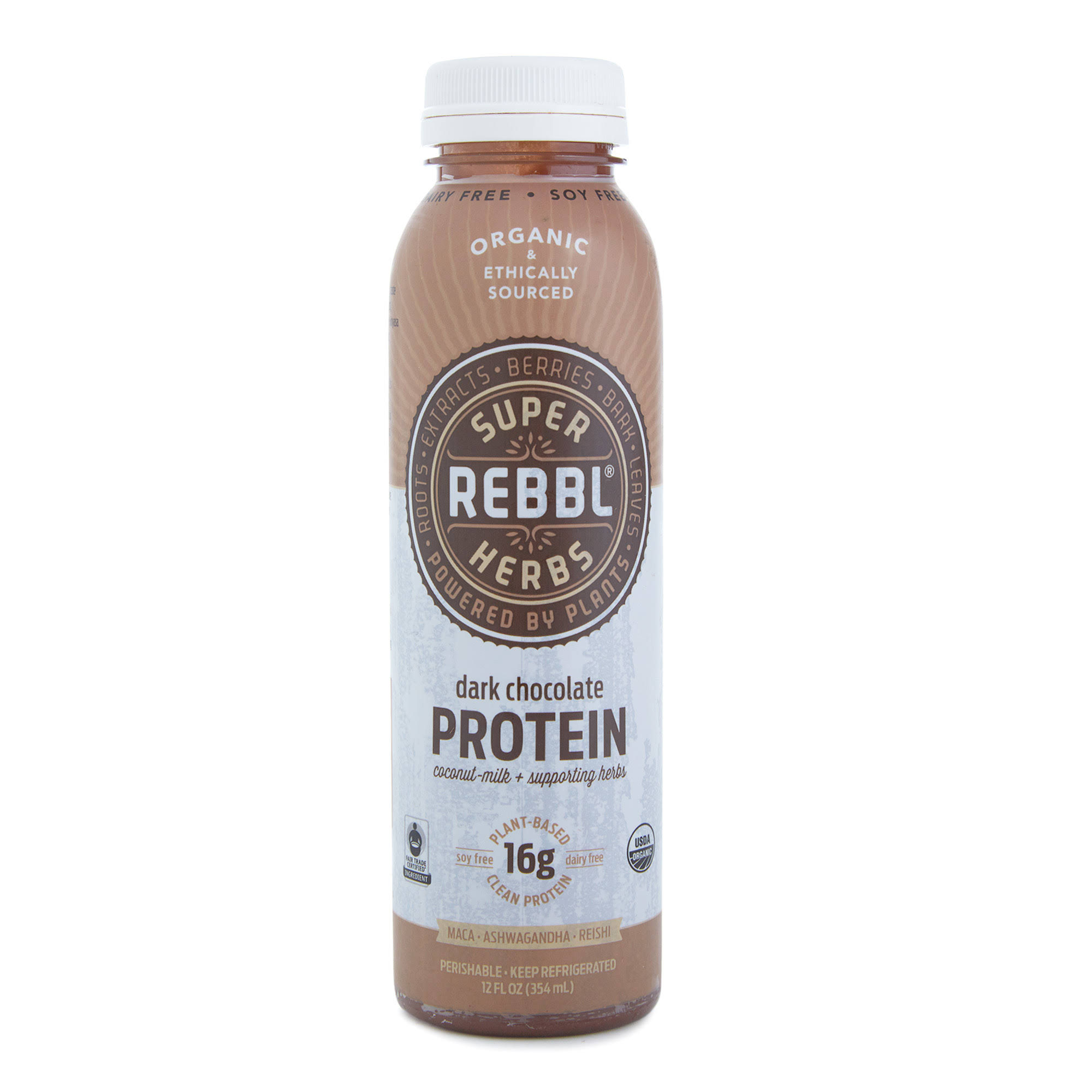 Rebbl Organic Protein Elixir Drink - Dark Chocolate, 12oz