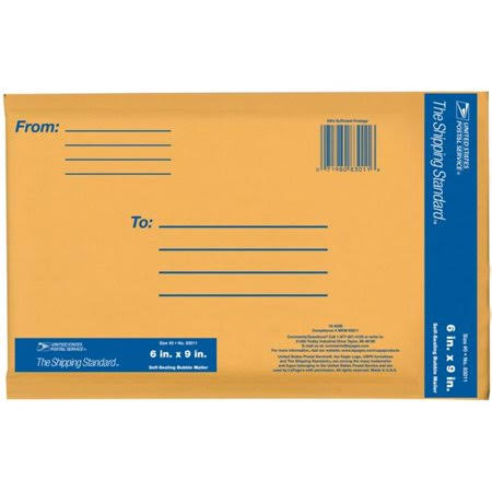 "Lepages Kraft Manila USPS Padded Mailer Envelope - 6""x9"""