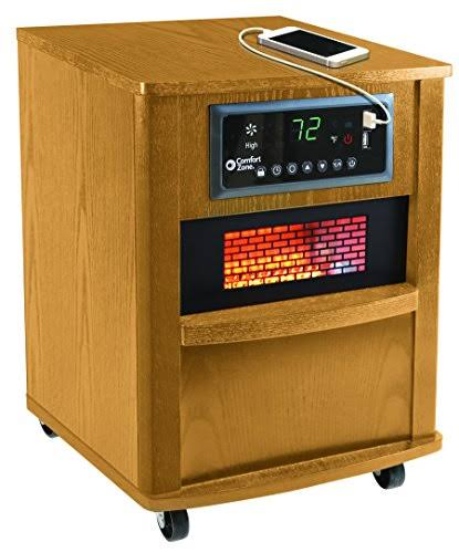 Comfort Zone Quartz Infrared Wood Cabinet Heater - Oat, 20''