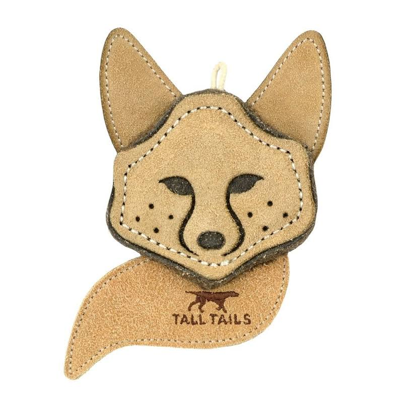 Tall Tails 88216666 Scrappy Critter Leather Fox Dog Toy - 4 in.