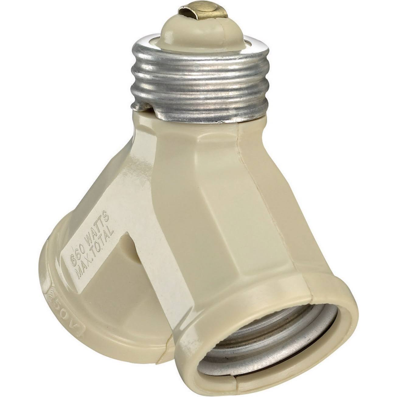 Leviton Twin Light-Socket Adapter - Ivory, 15Amp, 660W