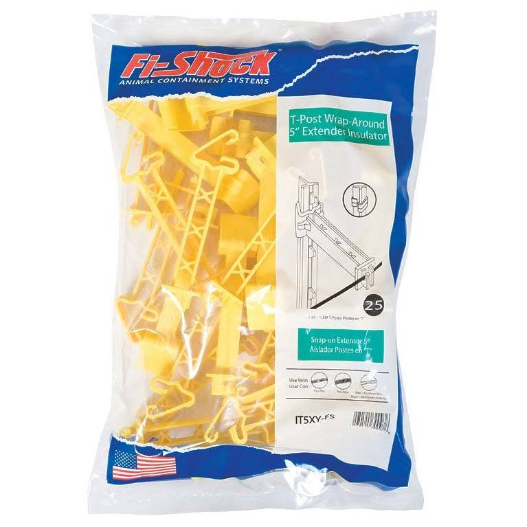 Fi-Shock IT5XY-FS Electric Fence Insulator, Yellow, 25/Pack