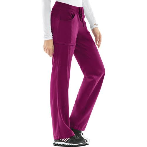 Cherokee 'Infinity' Low-rise Straight Leg Drawstring Antimicrobial Scrub Bottoms - Wine