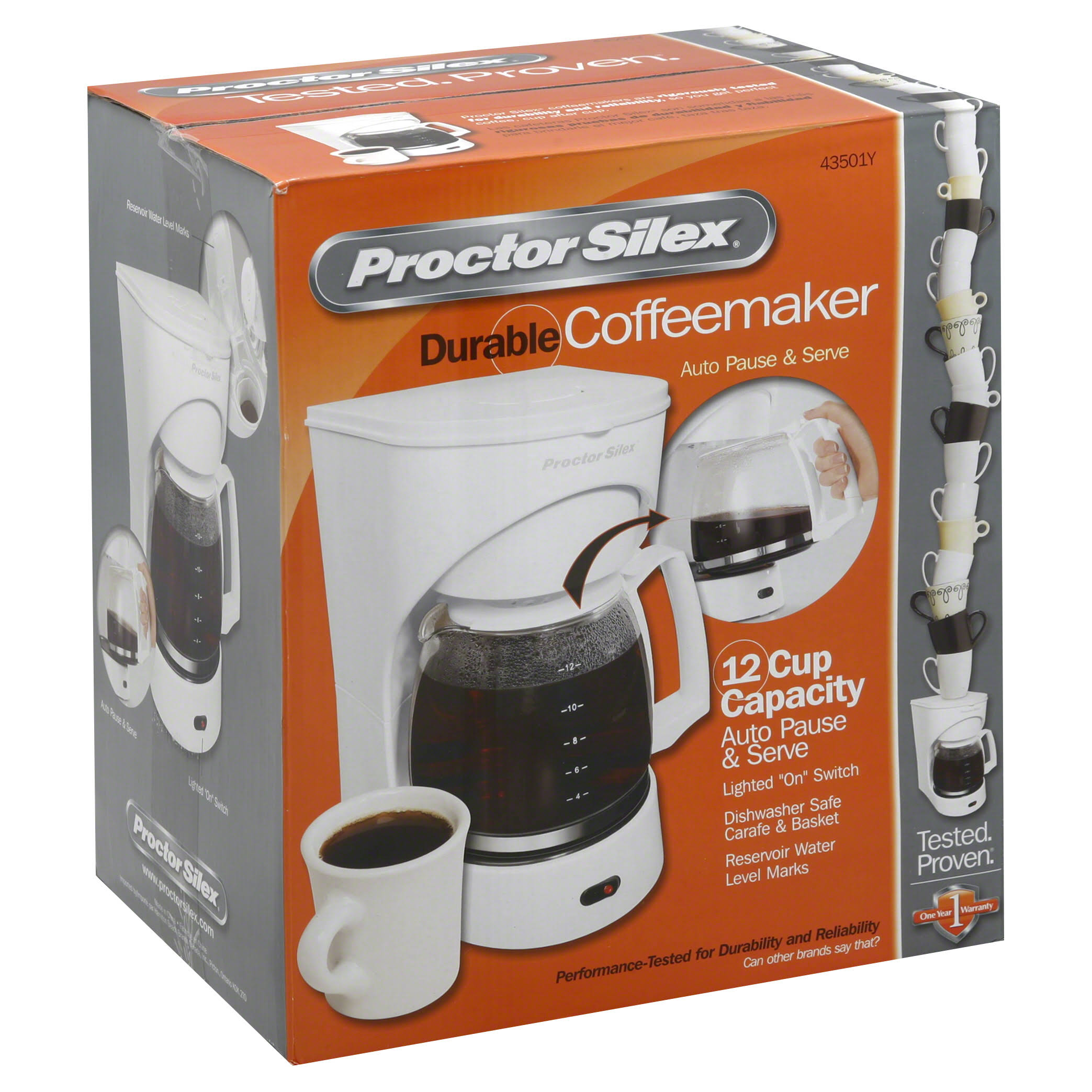 Proctor Silex Auto Pause and Serve Coffee Maker - 12-Cup, White