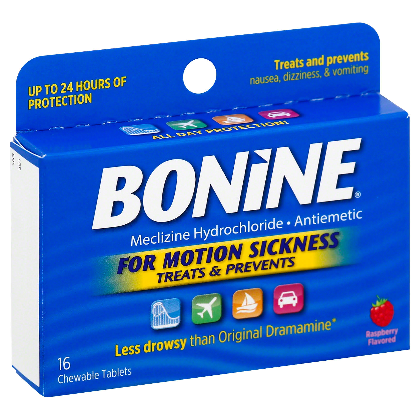 Bonine Antiemetic - 16 Chewable Tablets, Raspberry