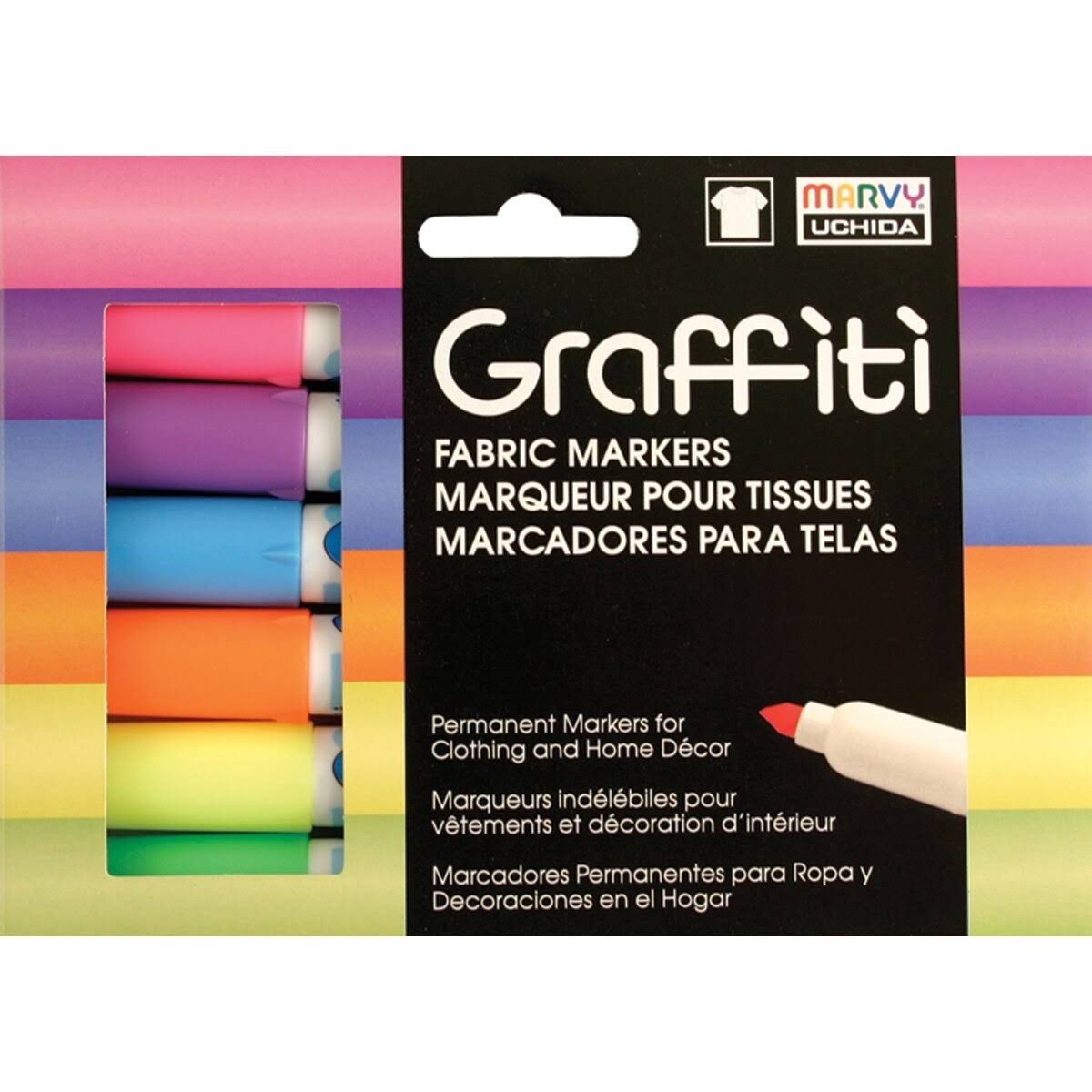 Uchida of America Graffiti Fabric Marker Set - Fluorescent, 6pcs