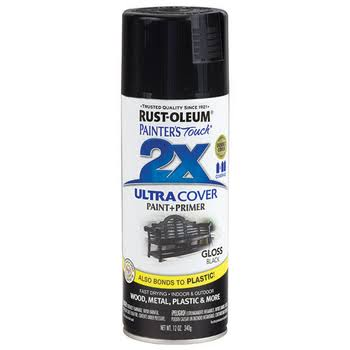 Rust-Oleum Painter's Touch 2x Ultra Cover Gloss Black Spray Paint 12oz