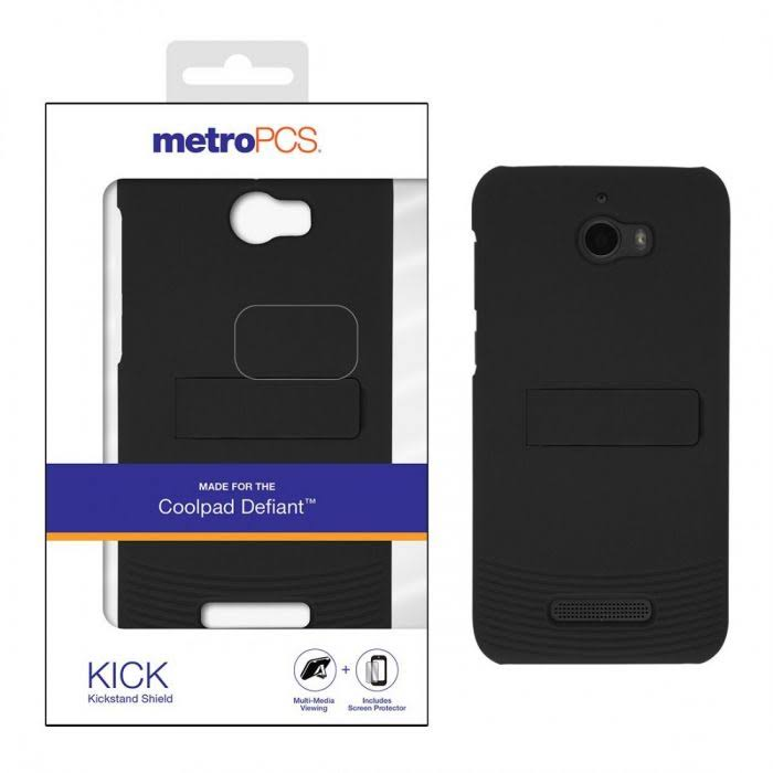 Coolpad Defiant (3632) Metro Pcs Kick One-Piece Kickstand Shield Case w/ Screen Protector-Black