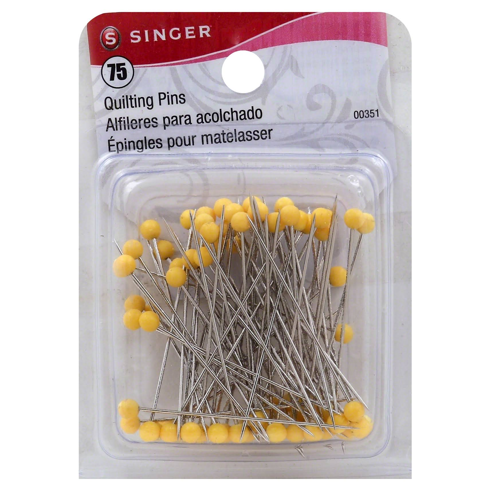 Singer Quilting Pins - Yellow Ball Tip, Size 28, 75pk