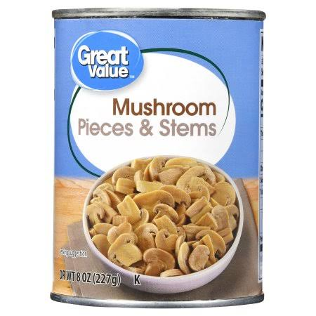 Great Value Mushrooms - Pieces & Stems, 8oz