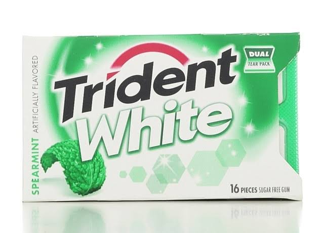 Trident White Gum - 16 Count, Sugar Free, Spearmint