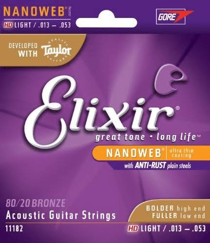 Elixir Nanoweb 80/20 Bronze Acoustic Guitar Strings - .013-.053