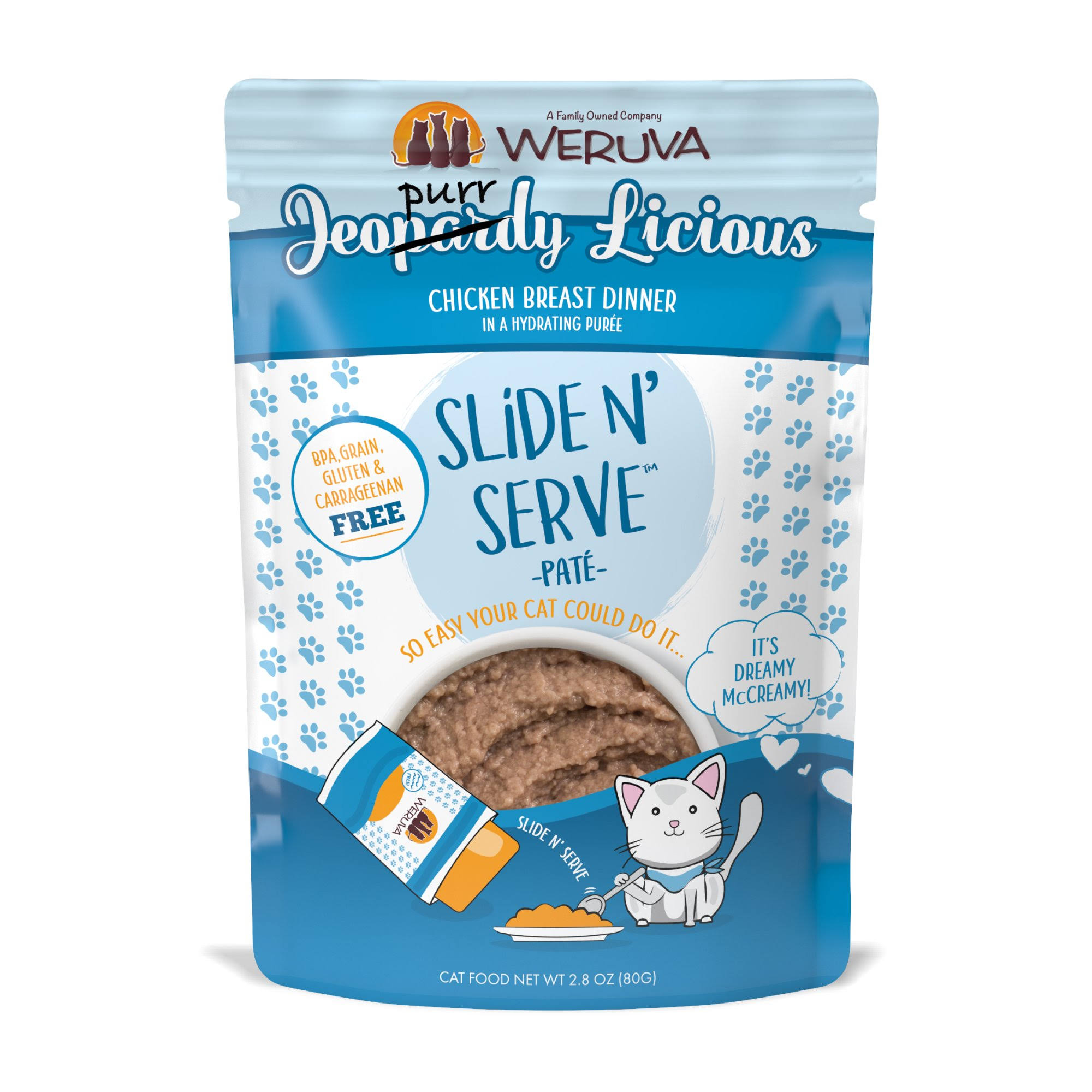 Weruva Slide N' Serve Grain Free Jeopurrdy Licious Chicken Dinner Wet Cat Food Pouch - 2.8 oz, Case of 12