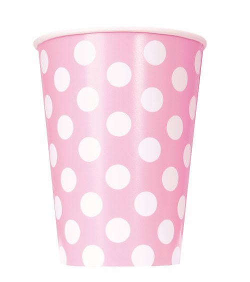 Unique Polka Dot Paper Cups - Light Pink, 12oz, 6ct