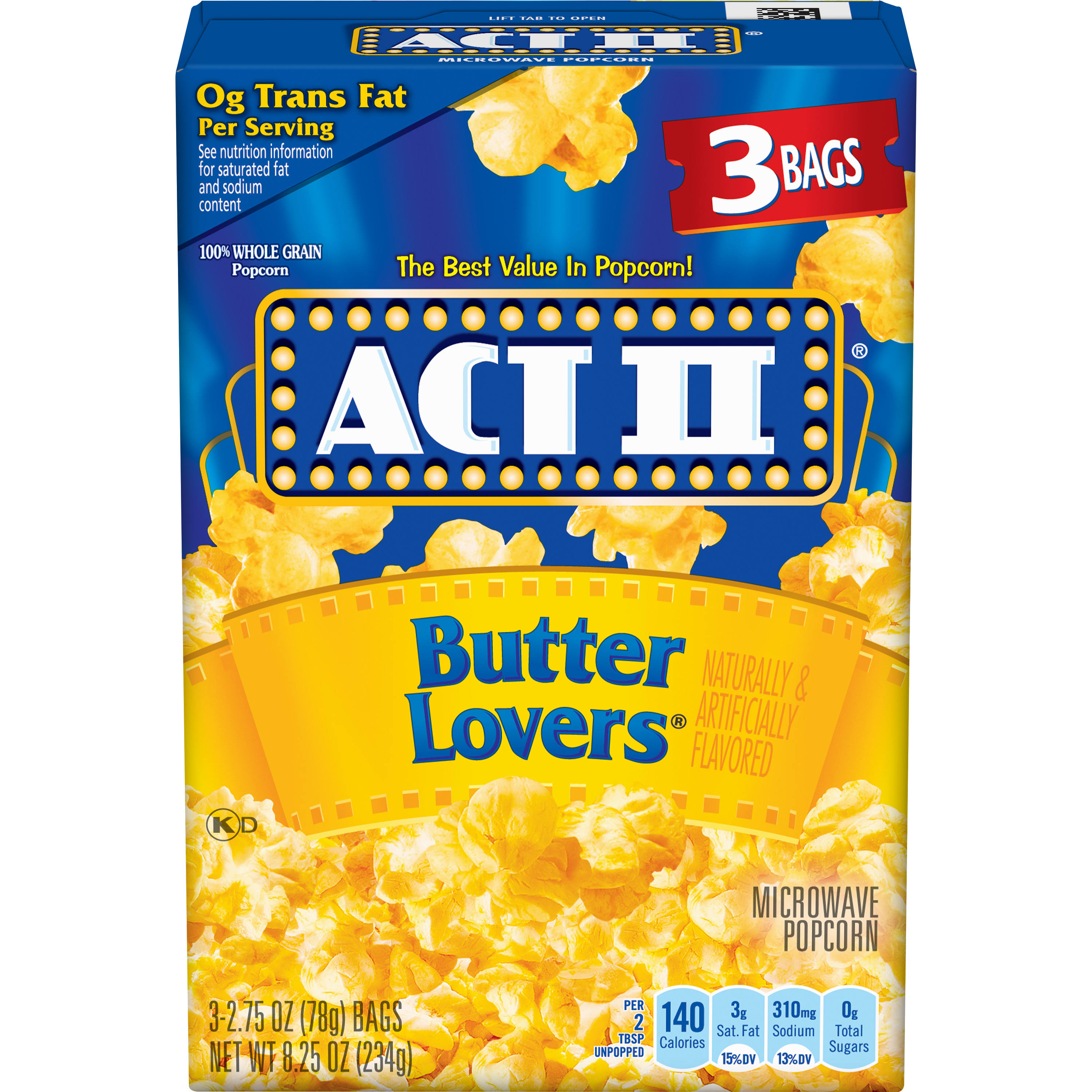 Act Ii Microwave Popcorn - Butter Lovers, 3ct