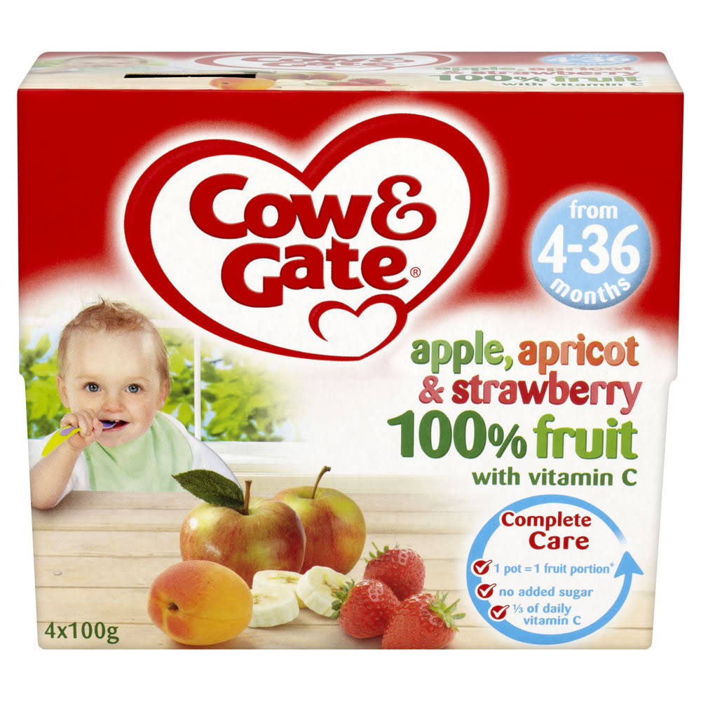 Cow & Gate Fruit Pots - Apple, Apricot and Strawberry, 4 to 6 Months, 4ct