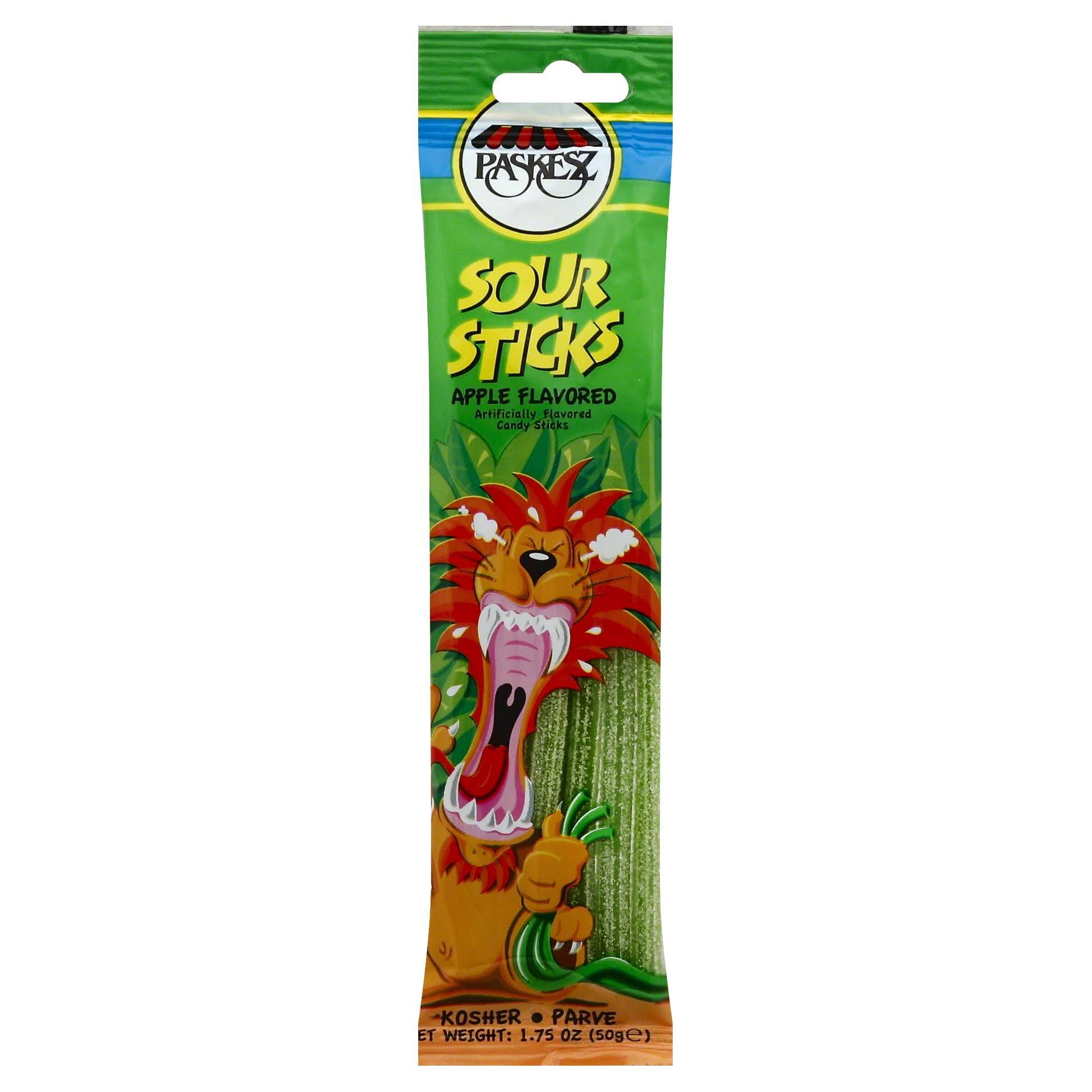 Paskesz Sour Sticks Apple Flavoured Candy - 50g