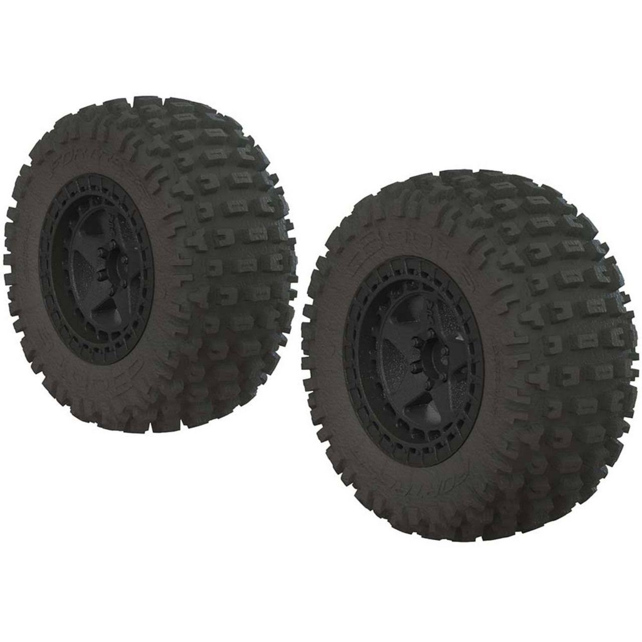 ARRMA Booots Fortress SC Tire Set - Glued, Black, 2ct