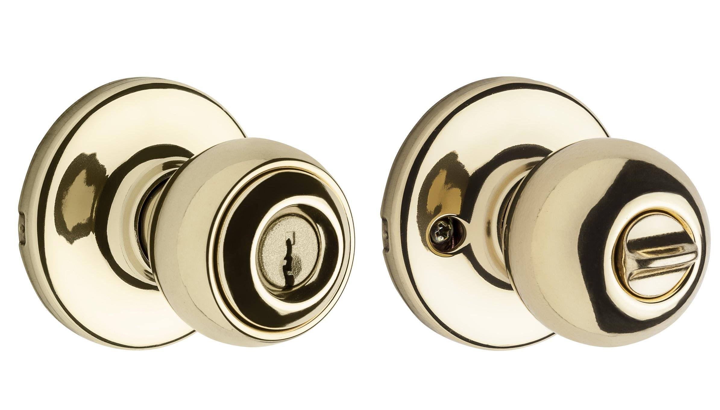 Kwikset Polo Polished Brass Keyed Entry Door Knob